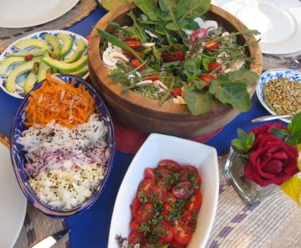 Selection of organic salads
